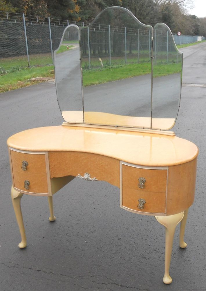 Birds Eye Maple Kneehole Dressing Table Sold